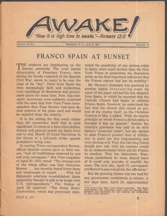 AWAKE! Watchtower Society 7/8 1951 Franco of Spain; NATO; Bahama Piracy