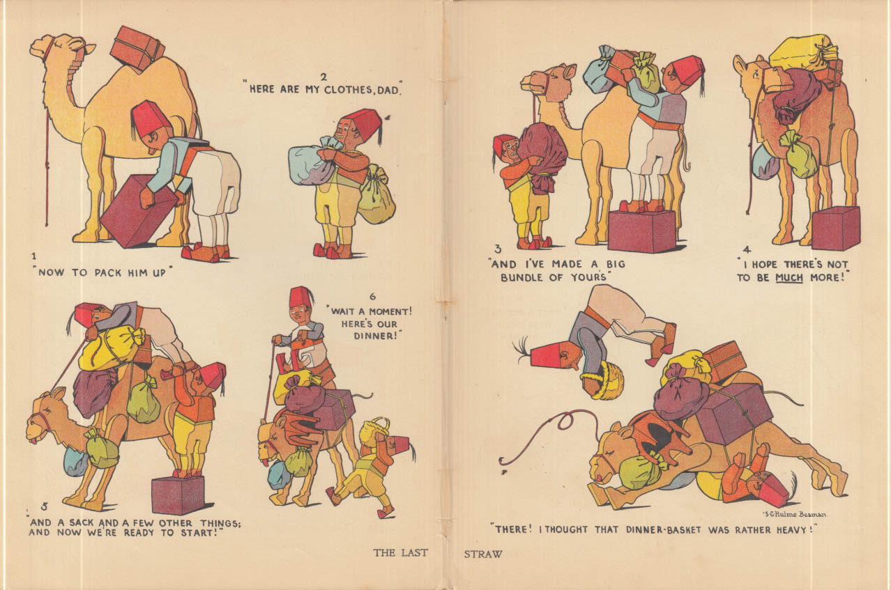 The Last Straw comic by S C Hulme Beaman: Arabs overload a camel ca 1910