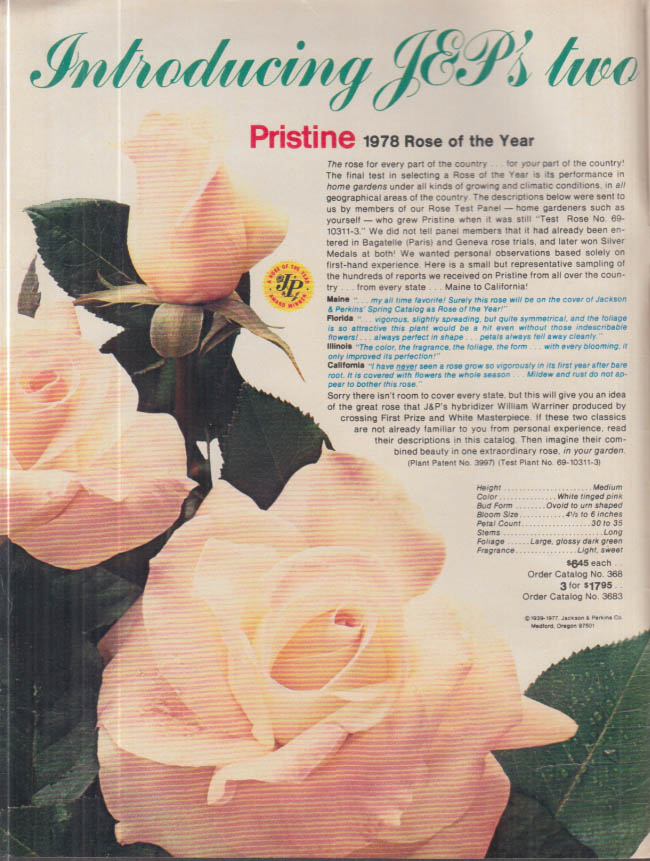 Johnson & Perkins Roses Catalog 1978 Medford OR
