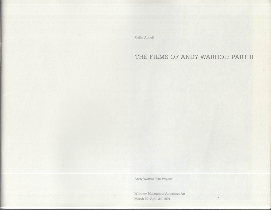 The Films of Andy Warhol: Part II 1994 Whitney Museum of Art catalog