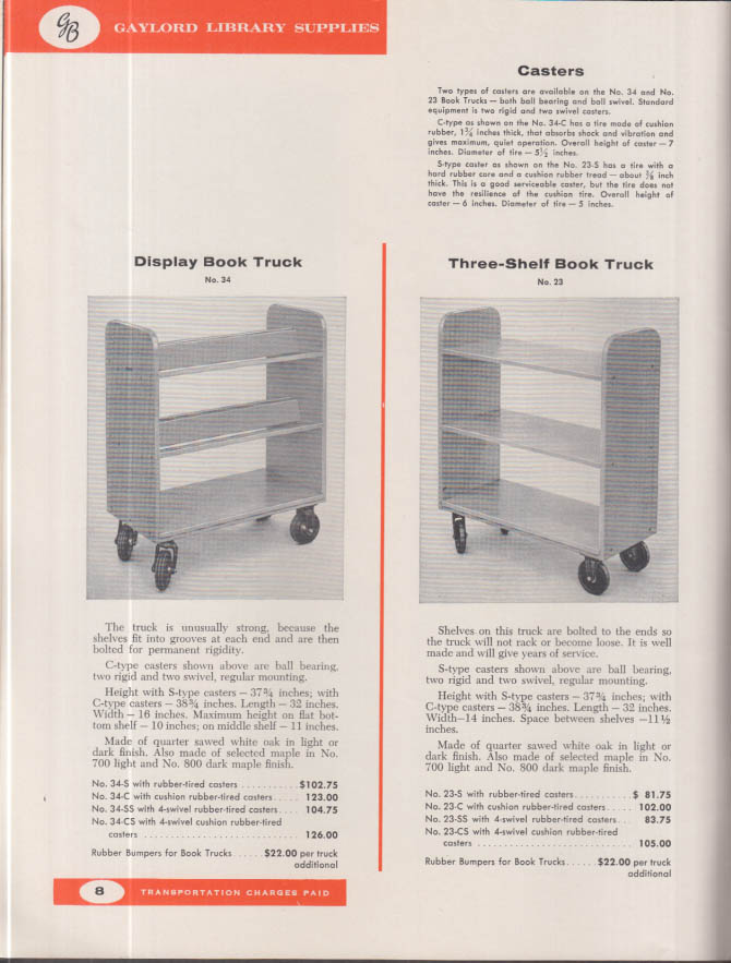 Gaylord Library Supplies Catalog 1963-1964 Syracuse NY Stockton CA