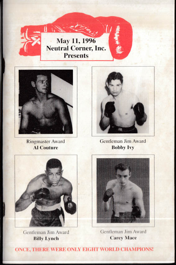 Neutral Corner Program 1996 Boxing Al Couture Bobby Ivy Billy Lynch Carey Mace