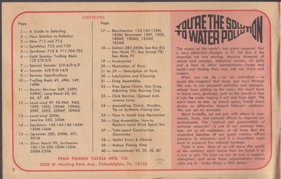 Penn Fishing Reels Catalog # 35B Instructions & Parts List 1960s