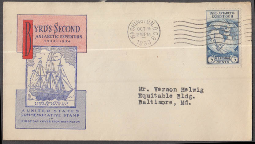 Admiral Byrd's 2nd Antarctic Expedition cachet cover 1933 FDC