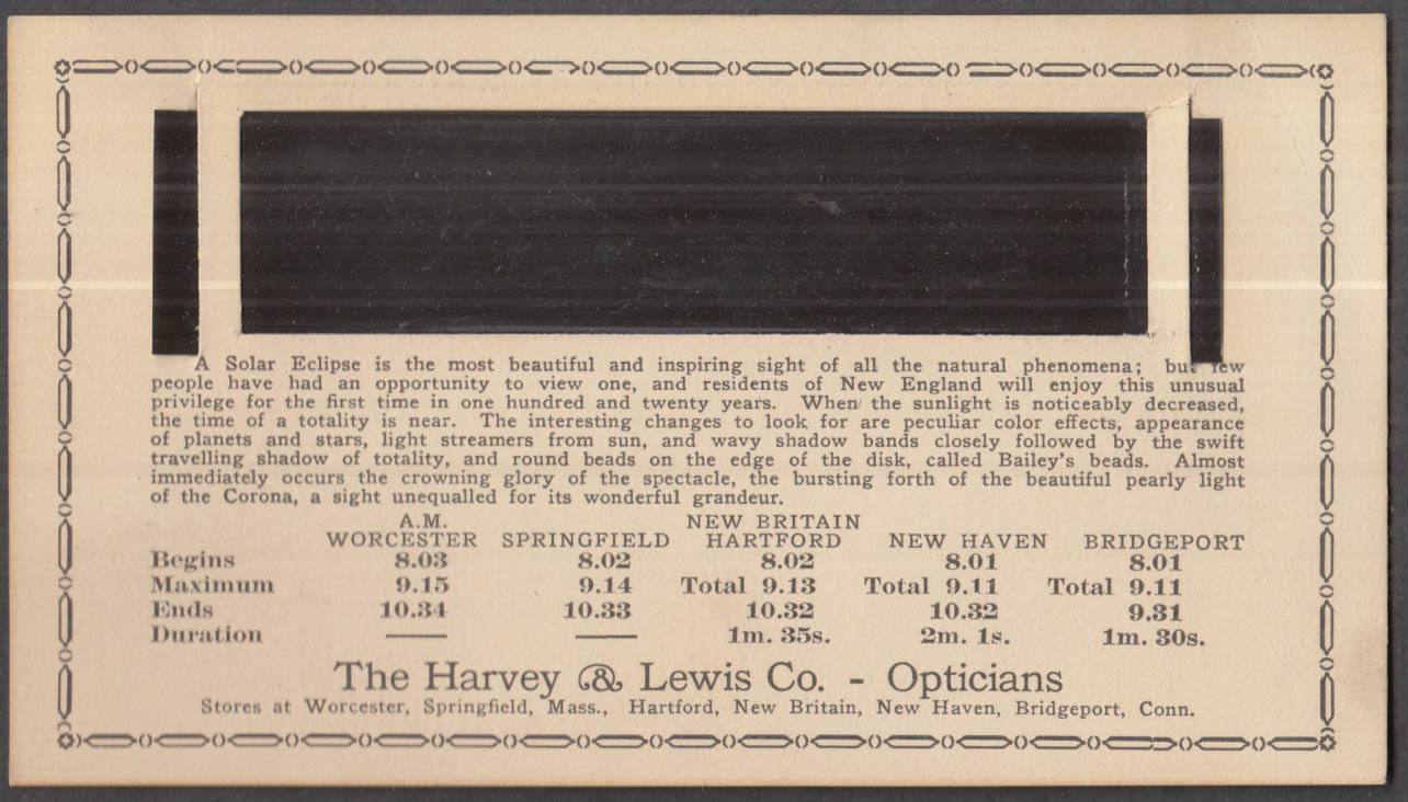 Harvey & Lewis Hartford CT Solar Eclipse Viewing Card with diffuser 1925
