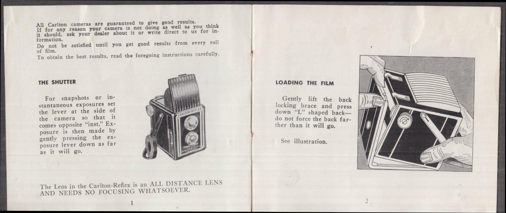 Carlton Reflex Camera Instructions booklet ca 1940s Utility Mfg NYC
