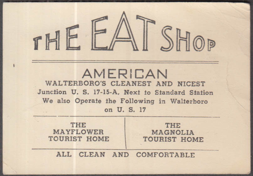 The Eat Shop Walterboro SC business card & mileage list ca 1940s