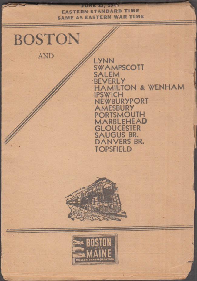 Boston & Maine Railroad timetable 1941 Lynn-Salem-Ipswich-Gloucester-Topsfield