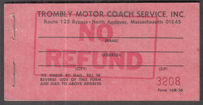 Trombly Motor Coach Service N Adnover MA 10-ride ticket booklet 1960s
