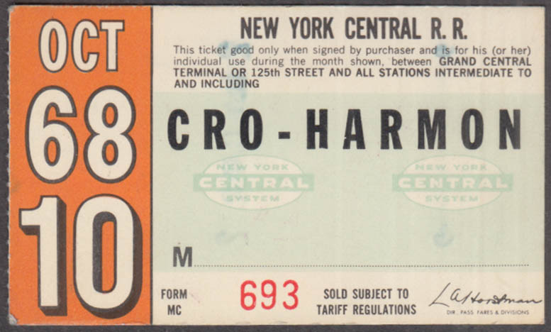 New York Central Railroad monthly commutation ticket 10 1968 Croton-Harmon