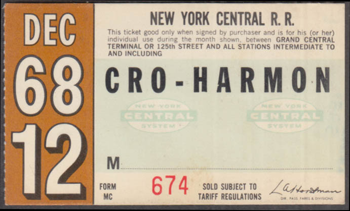 New York Central Railroad monthly commutation ticket 12 1968 Croton-Harmon
