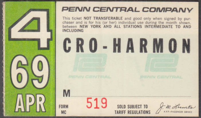 Penn Central Railroad monthly commutation ticket 4 1969 Croton-Harmon