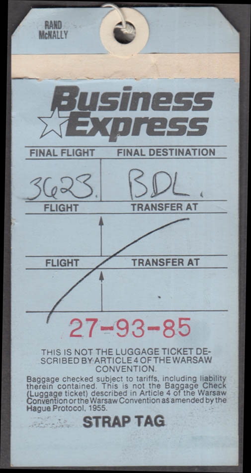 Business Express Airlines flown baggage tag BDL Hartford / Springfield 1980s