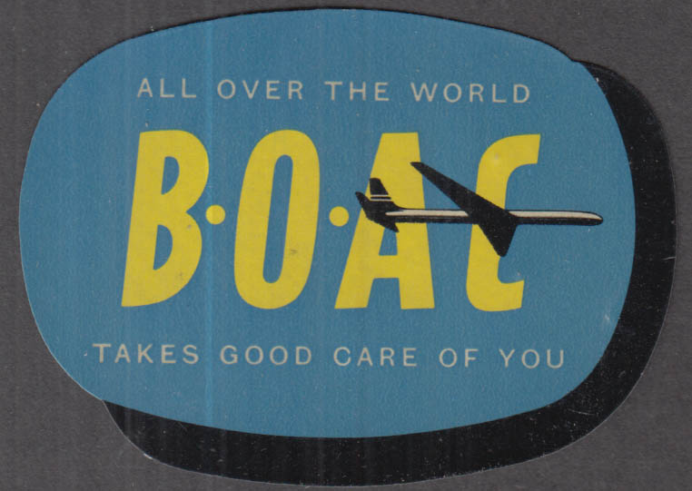 BOAC British Overseas Airways Corp All Over the World baggage sticker 1960s
