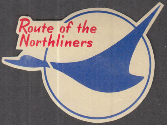 Republic Airlines Route of the Northliners gummed baggage sticker 1950s