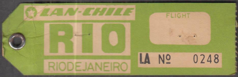 LAN Linea Aerea Internacional de Chile flown baggage tag RIO de Janiero 1960s