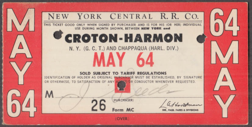 New York Central Railroad monthly commutation ticket 5 1964 Croton-Harmon