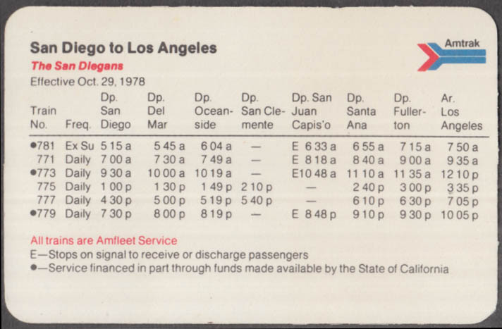 Amtrak San Diego-Los Angeles schedule card 10/29 1978