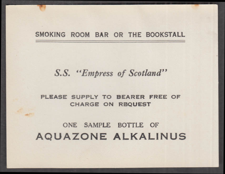 Canadian Pacific SS Empress of Scotland Aquazone Alkalinus free bottle card 1923