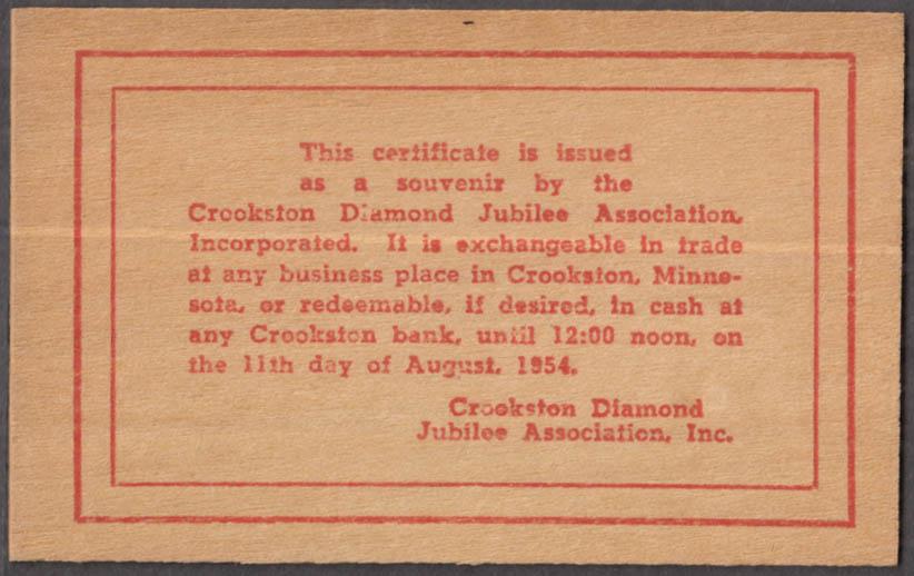 Crookston MN Diamond Jubilee Two Wooden Nickels scrip 1954