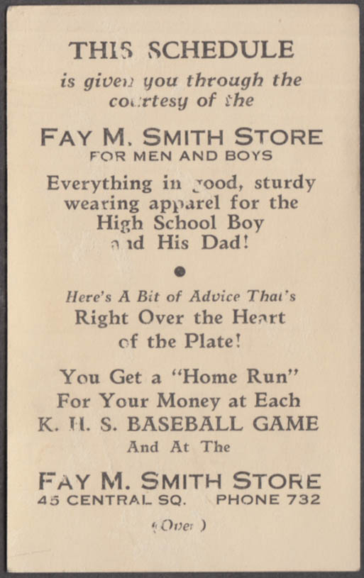 Keene High School Baseball Schedule card 1936 Fay M Smith Men's Store NH