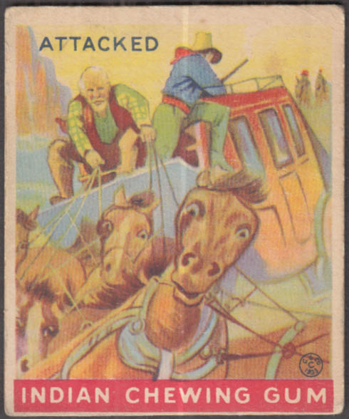 """Goudey Indian Gum trading card #77 """"Attacked"""" 1933"""