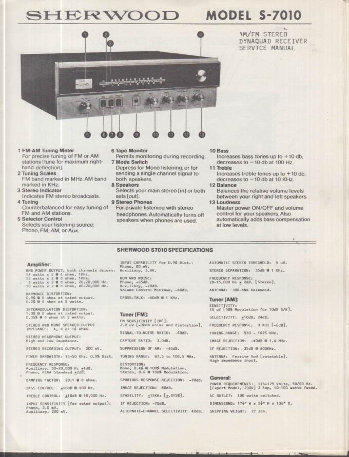 ORIGINAL Service Manual: Sherwood Model S-8600CP AM/FM Stereo Receiver