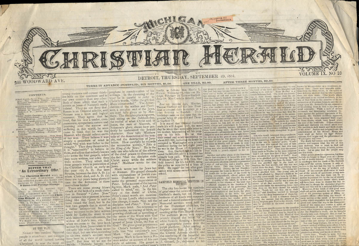 MICHIGAN CHRISTIAN HERALD newspaper 9/29 1881 Pres Garfield Memorial Services