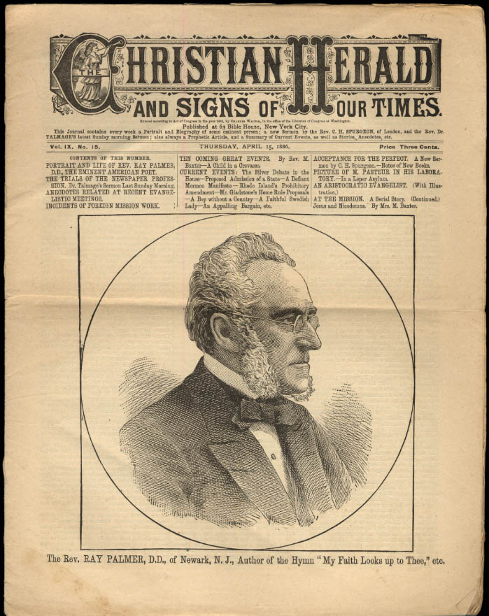 CHRISTIAN HERALD 4 /15 1886 Rev Ray Palmer; Louis Pasteur at Work