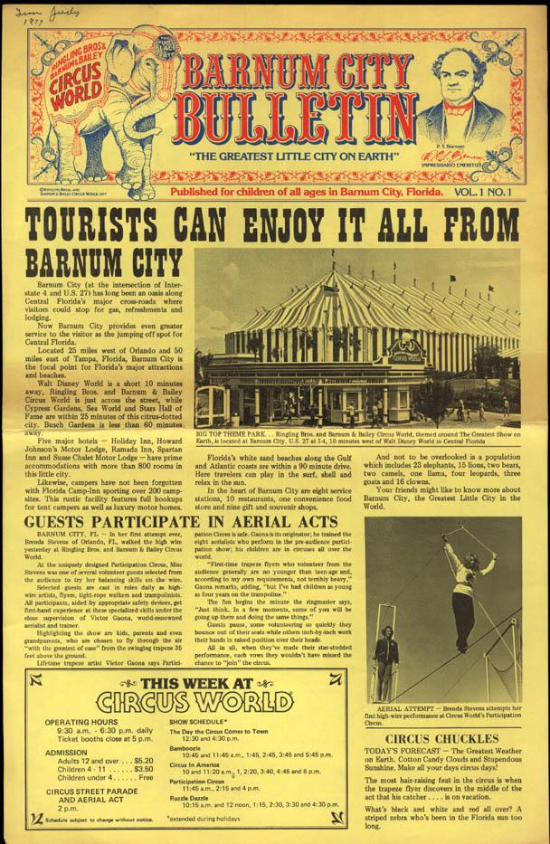 BARNUM CITY BULLETIN 1977 Jewel New's Lion; Dancing Bear FL