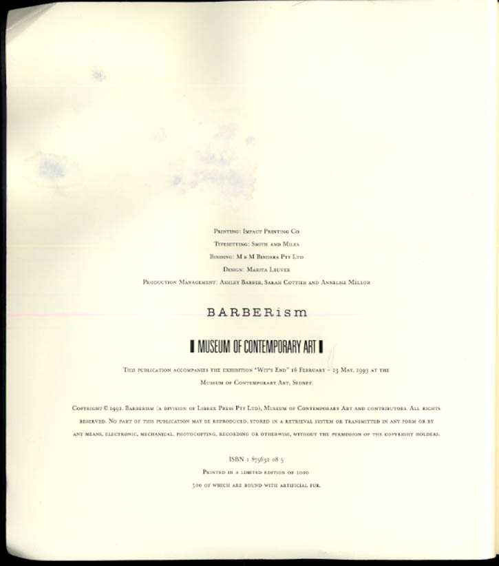 Image for Museum of Contemporary Art BARBERism exhibit catalog book 1/500 Sydney