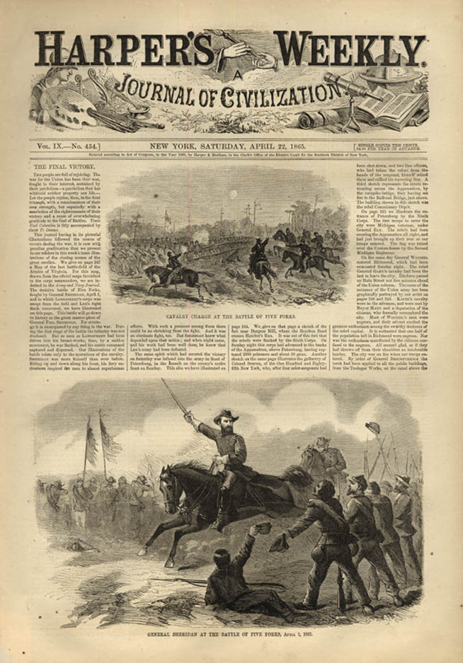 Image for HARPER'S WEEKLY page 4/22 1865 General Sheridan at Battle of Five Forks
