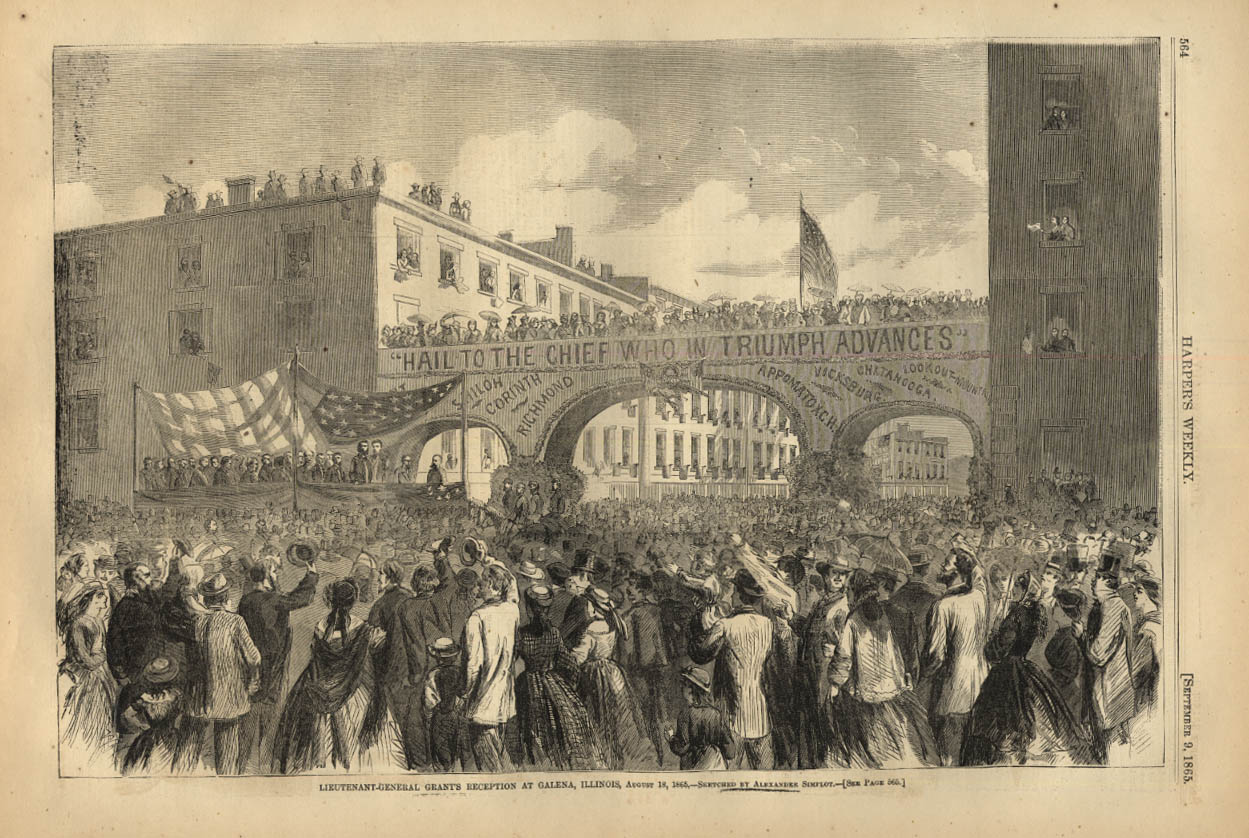 Image for HARPER'S WEEKLY page 9/9 1865 General Grant's Reception Galena Illinois