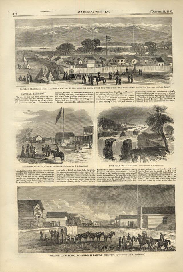 Image for HARPER'S WEEKLY page 10/25 1865 Dacotah Dakota Territory Fort Thompson Yankton +