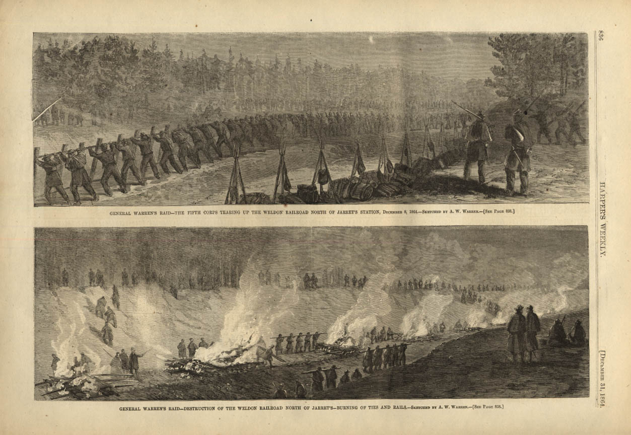 Image for HARPER'S WEEKLY page 12/31 1864 General Warren's Raid on Weldon RR at Jarret's