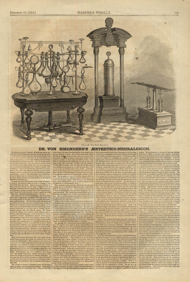 Image for HARPER'S WEEKLY page 12/17 1864 Dr Von Eisenberg's Aesthetic-Neuralgicon