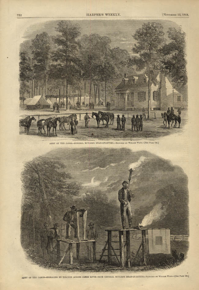 Image for HARPER'S WEEKLY page 11/12 1864 Army of the James General Butler's HQ