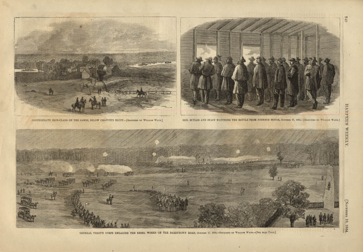 Image for HARPER'S WEEKLY page 11/19 1864 Gen Terry's Corps at Rebel Works Darbytown Road