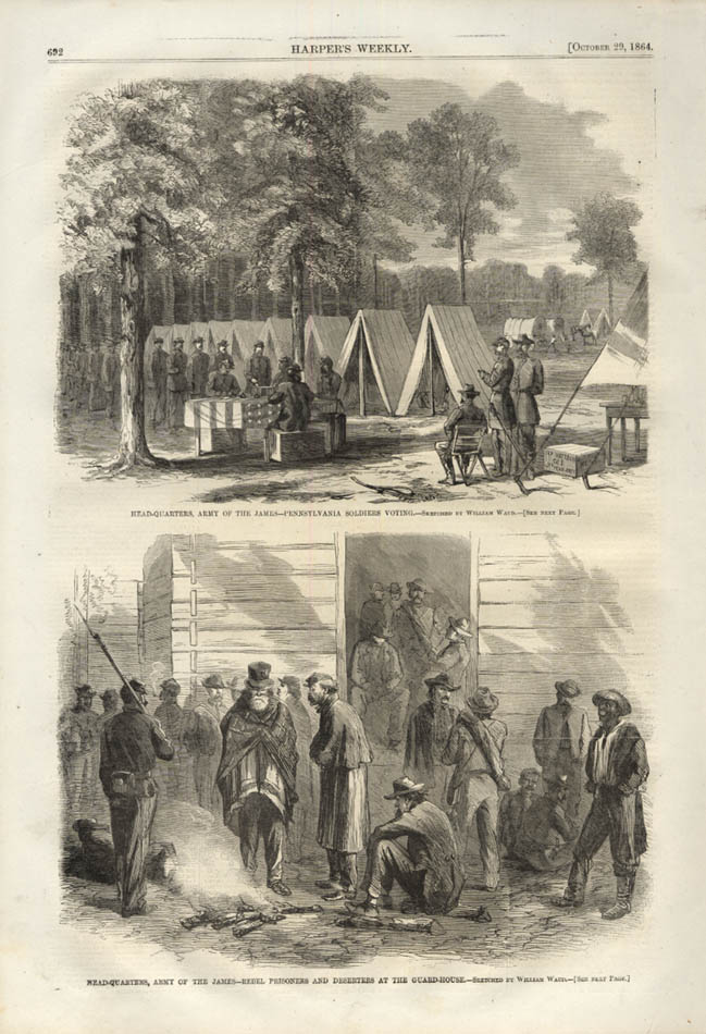 Image for HARPER'S WEEKLY page 10/29 1864 Army of the James HQ, voting & rebel prisoners