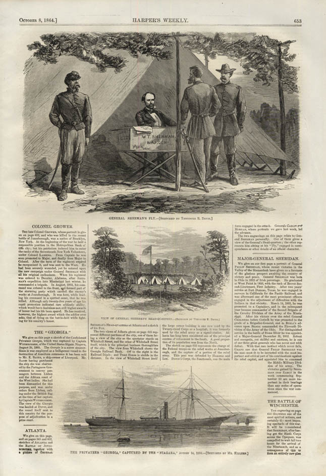 Image for HARPER'S WEEKLY page 10/8 1864 Gen Sherman's HQ; Rebel Privateer Georgia caught