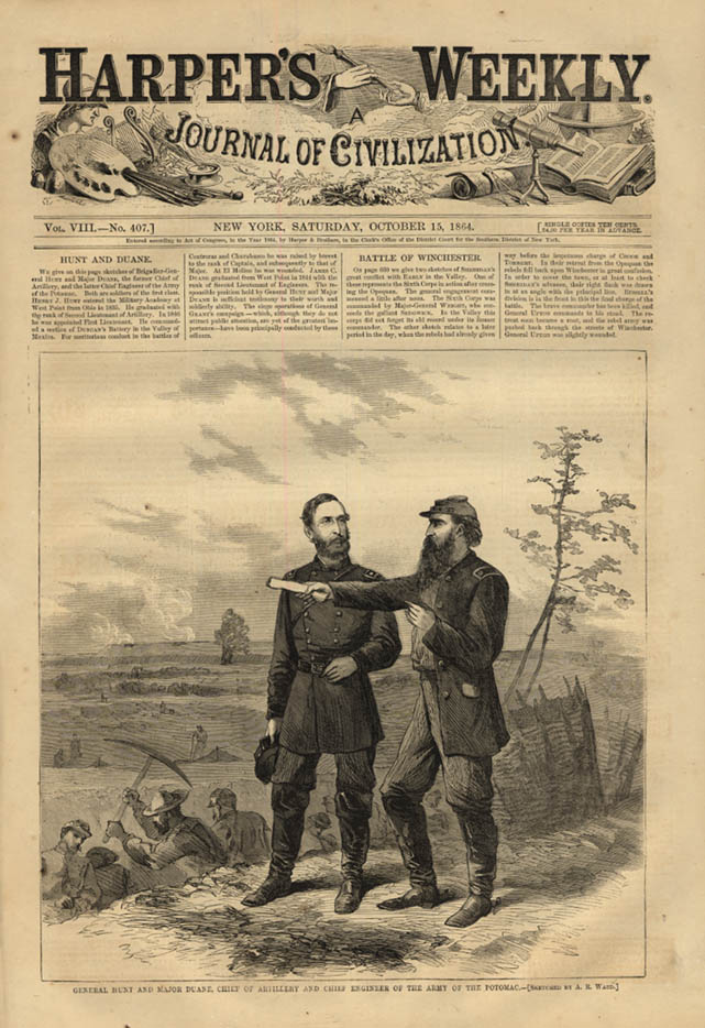 Image for HARPER'S WEEKLY page 10/15 1864 Gen Hunt & Maj Duane Army of the Potomac