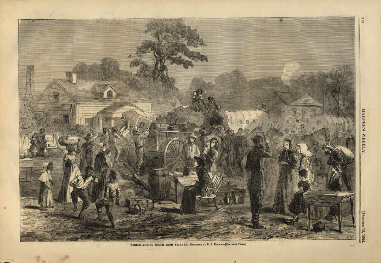 Image for HARPER'S WEEKLY page 10/15 1864 Confederate Rebels Moving South from Atlanta