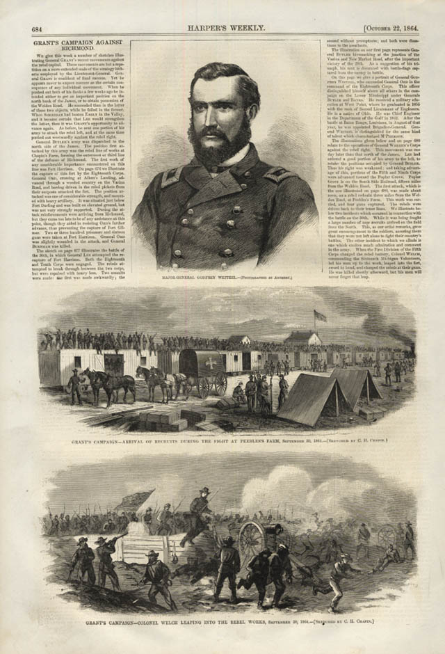Image for HARPER'S WEEKLY page 10/22 1864 Gen Weitzel; Grant at Peeble's Farm; Col Welch