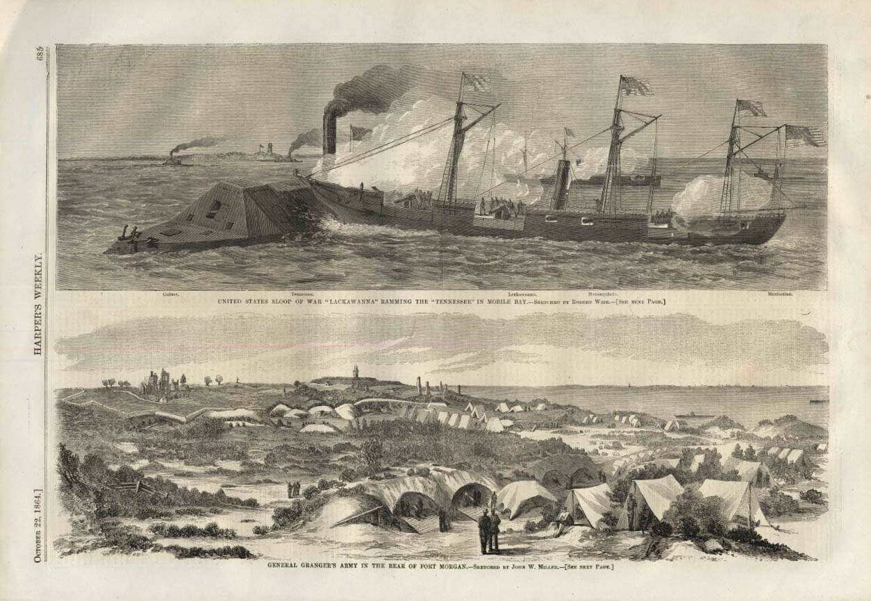 Image for HARPER'S WEEKLY page10/22 1864 USS Lackawanna rams Rebel Tennessee; Gen Granger