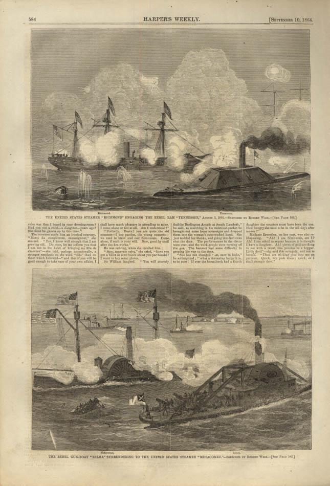 Image for HARPER'S WEEKLY page 9/10 1864 USS Richmond vs Tenessee; Rebel gunboat Selma