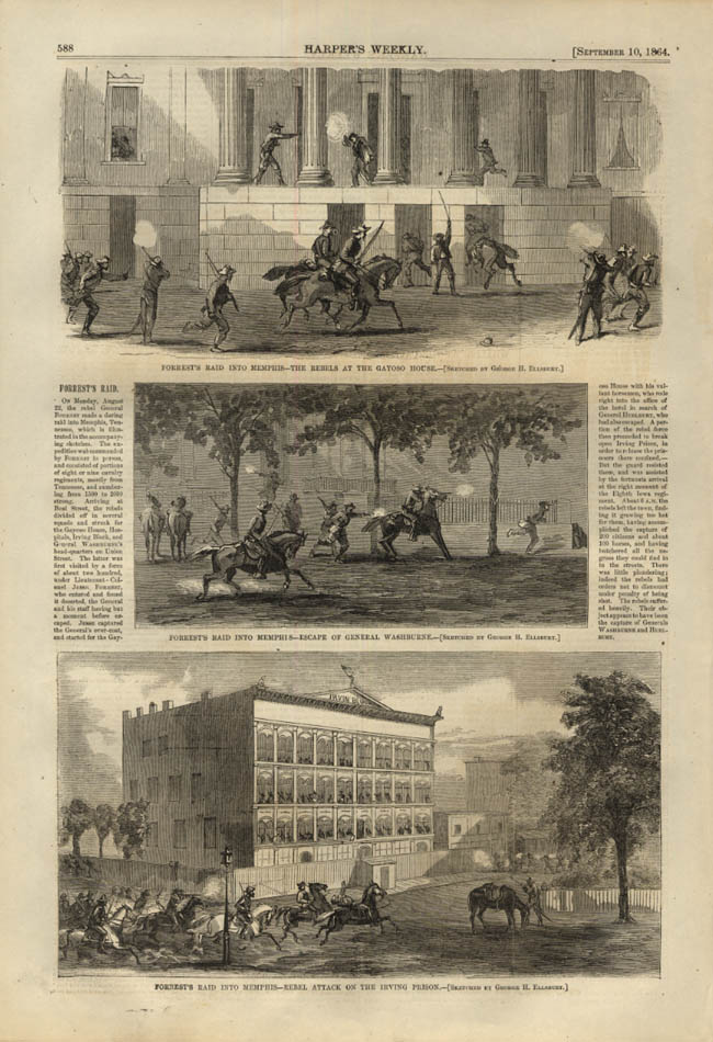Image for HARPER'S WEEKLY page 12/10 1864 Gen Forrest raid on Memphis; Washburne escapes