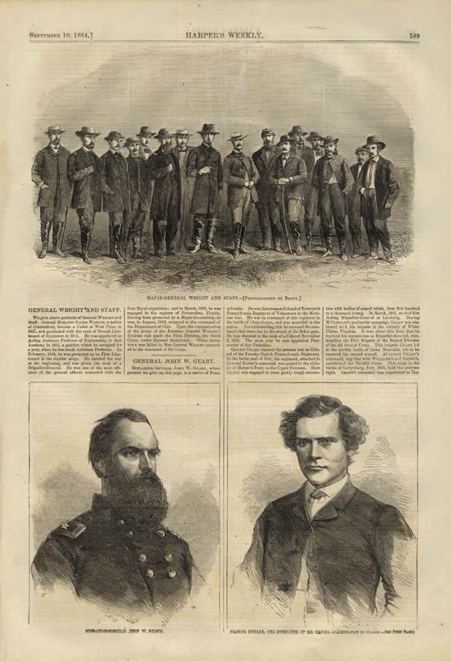 Image for HARPER'S WEEKLY page 9/10 1864 Gen Wright & Staff; Gen John W Geary
