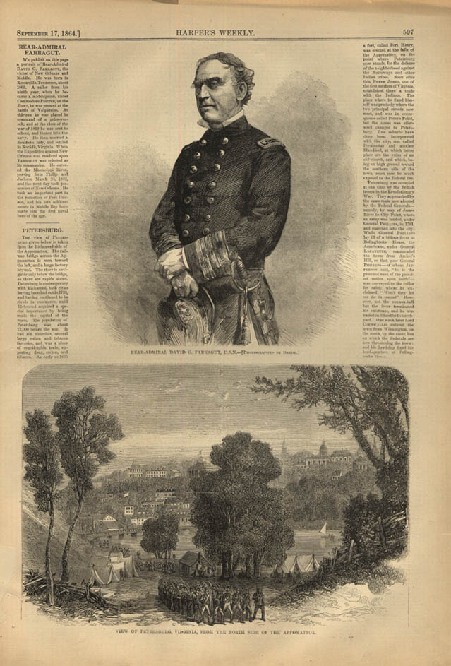 Image for HARPER'S WEEKLY page 9/17 1864 Admiral Farragut by Mathew Brady; Petersburg