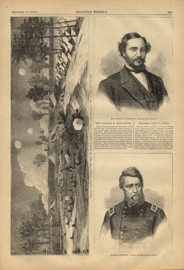 Image for HARPER'S WEEKLY page 9/17 1864 Gen Jefferson Davis by Mathew Brady Geo Pendleton