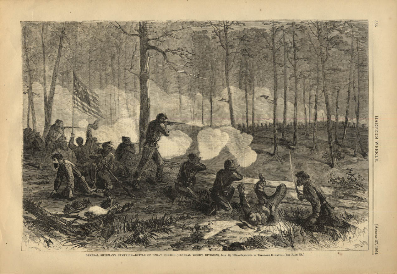Image for HARPER'S WEEKLY page 8/27 1864 Gen Sherman Campaign at Battle of Ezra's Church
